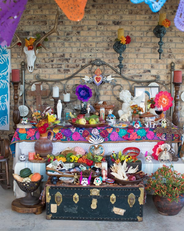 dia de los muertos altar filled with traditional alter elements Day of the Dead Altar Elements