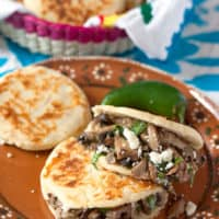 Mexican Arepas Stuffed with Spicy Sautéed Mushrooms