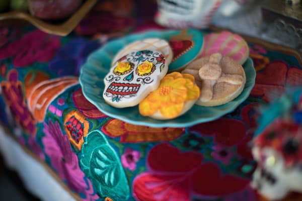 day of the dead cookies altar for dia de los muertos elements