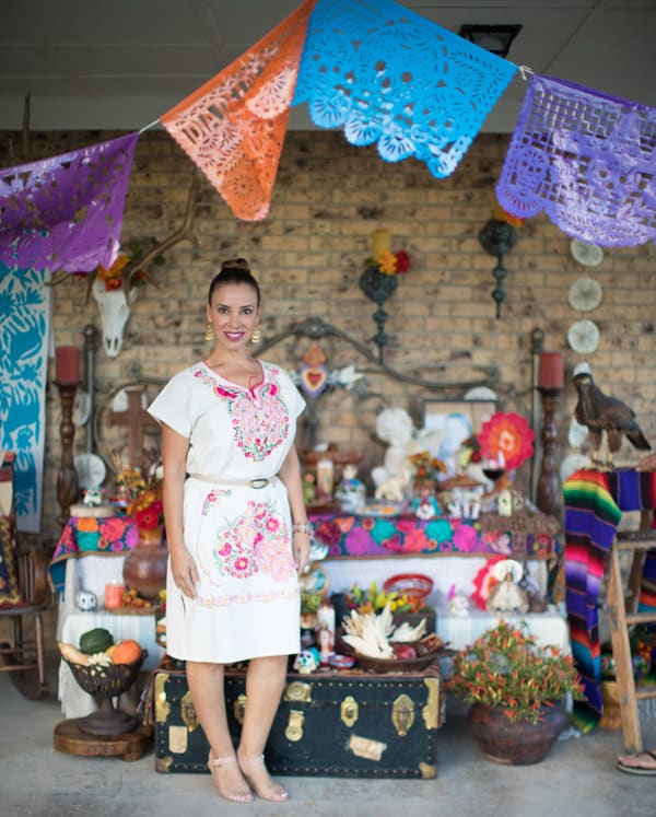 papel picado day of the dead altar with Latina food blogger Emmy winner