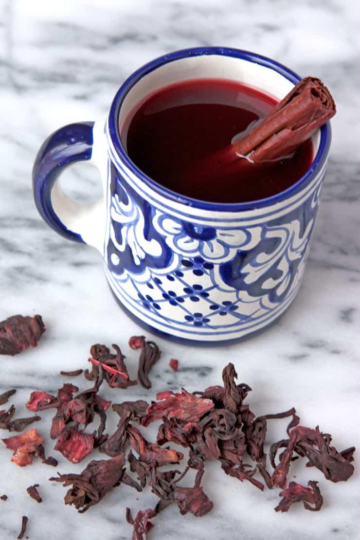 Hibiscus Jamaica Tea talavera cup with petals