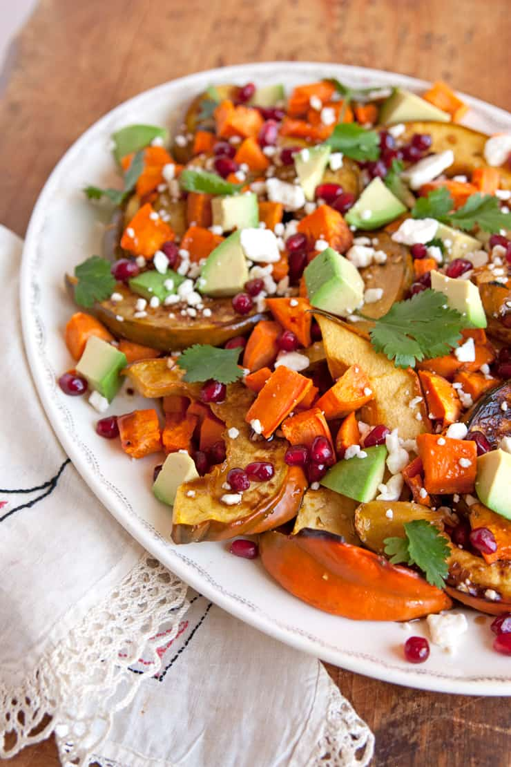 Roasted Sweet Potato and Acorn Squash Winter Salad
