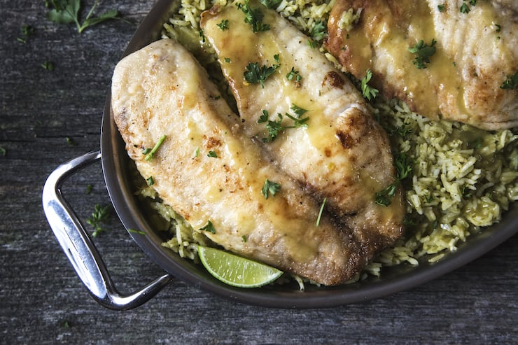 Tilapia and green rice