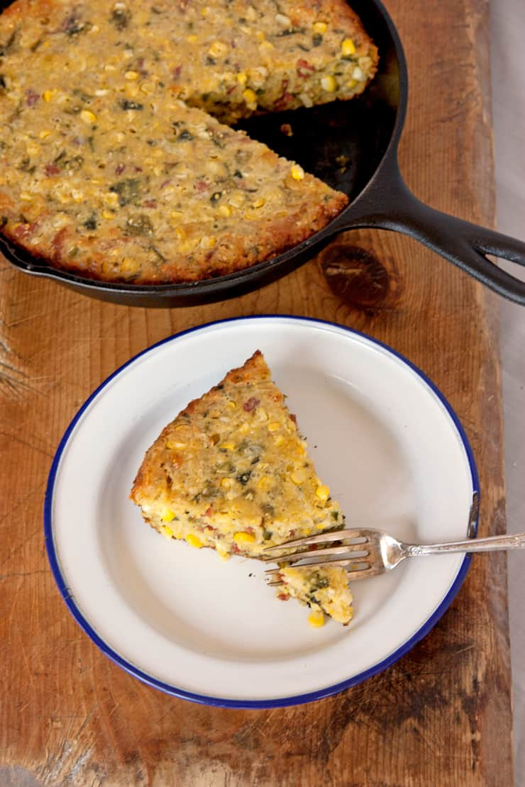 Skillet Corn Bread with Poblanos, Corn, Bacon, and Cheddar