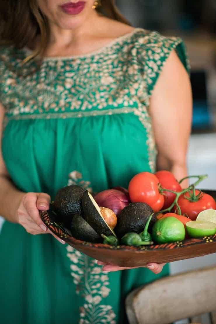 Mexican produce guacamole ingredients