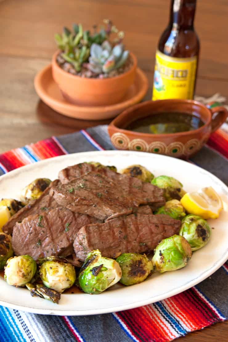 Grilled Tri-Tip Steak with Spicy Seared Brussels Sprouts
