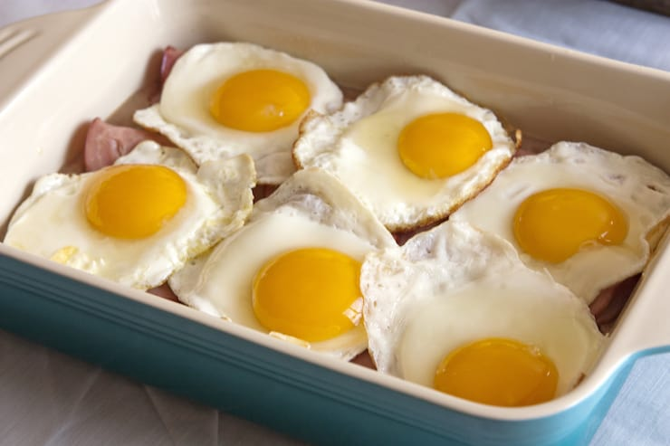 fried eggs baked breakfast in a casserole dish