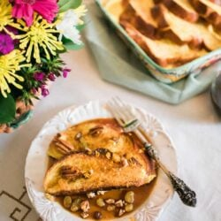 Baked Mexican French Toast served with flowers on the side