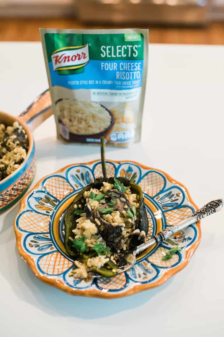 Mexican risotto stuffed poblanos