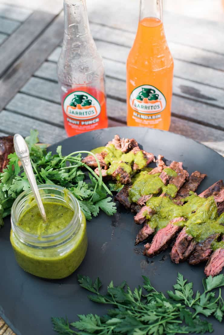 Jarritos and carne asada chimichurri