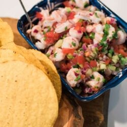 ceviche in a bowl and tostadas on the side for a tostada bar