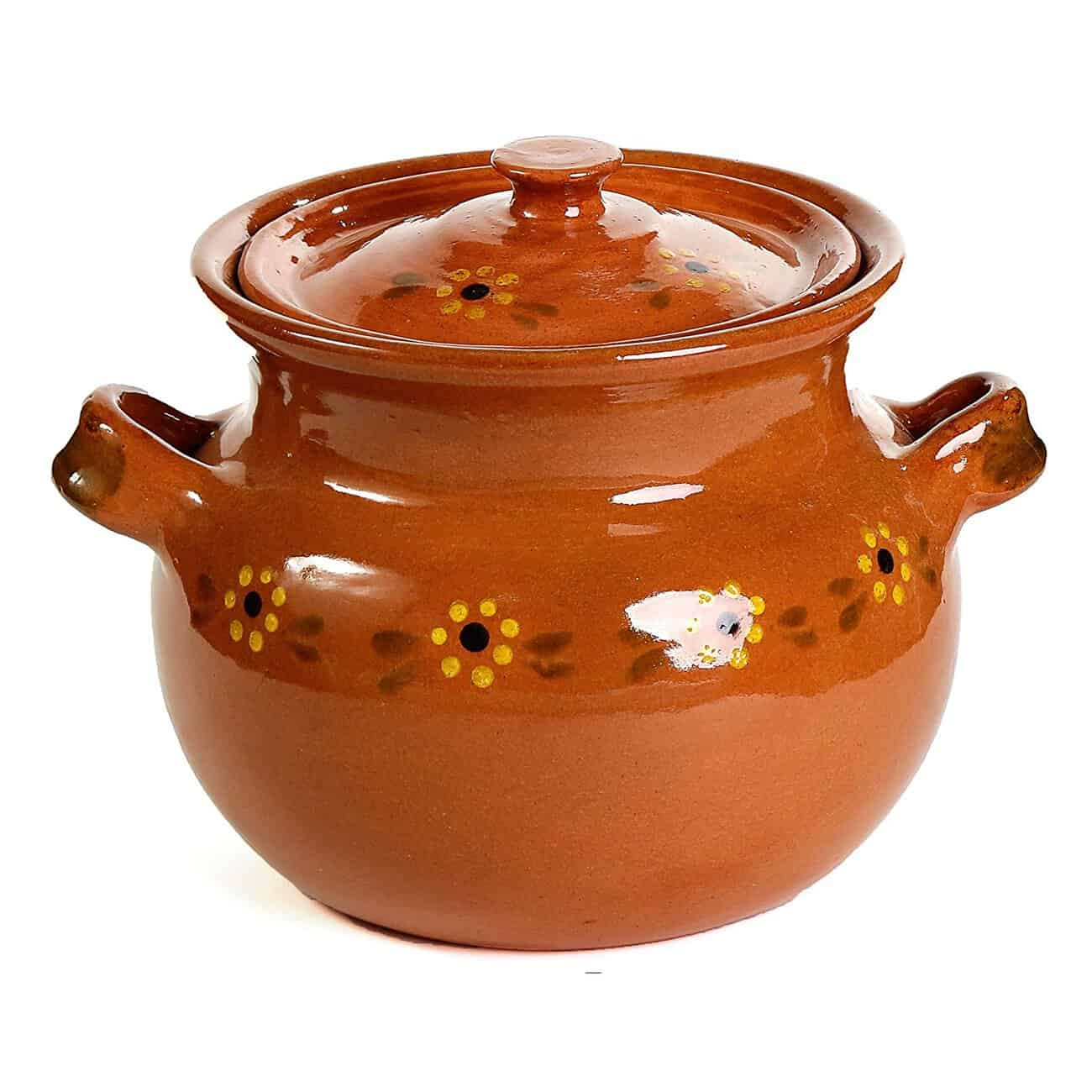 Mexican Traditional Clay Bean Pot Terracotta Muy Bueno