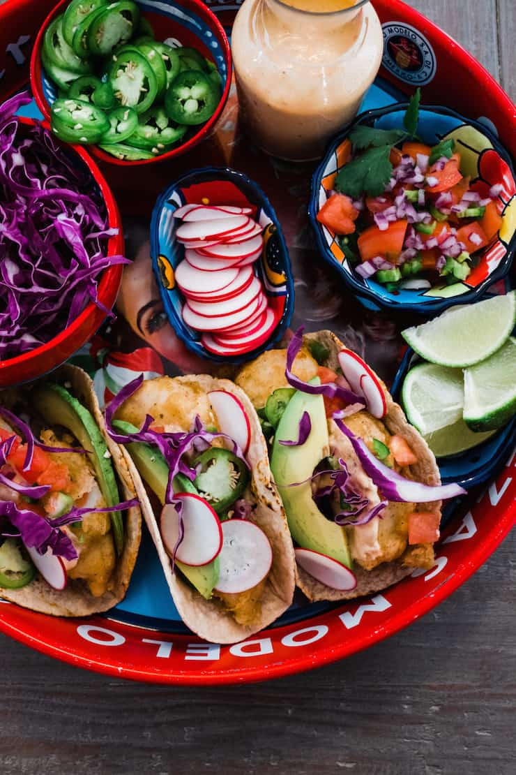 Beer-Battered Fish Tacos great lent dish with all the toppings and garnishes