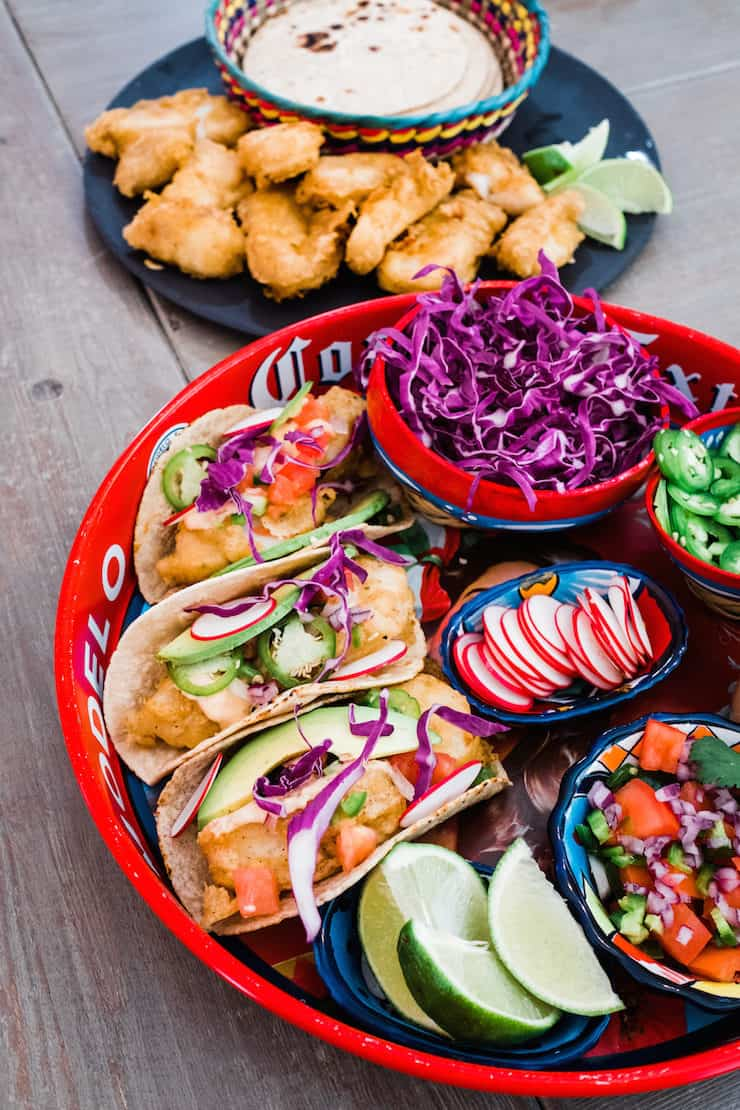 party platter of Beer-Battered Baja Fish Tacos