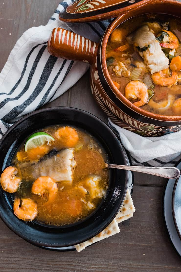 Caldo de Pescado y Camaron (Fish and Shrimp Soup) lent meal
