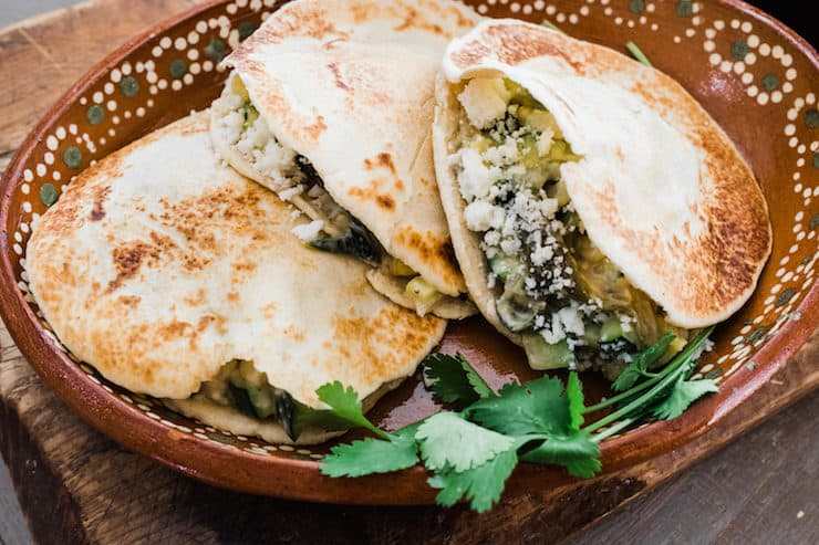 Gorditas de Harina filled with Creamy Zucchini, Corn, and Poblano Rajas