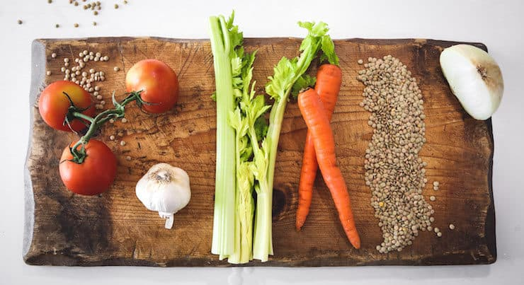 ingredients to make Sopa de Lentejas (Mexican Lentil Soup) tomatoes celery carrots garlic onion