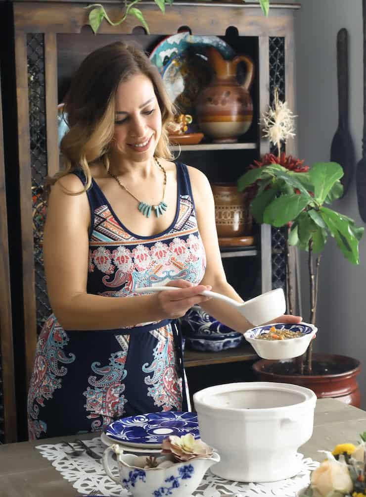 Yvette Marquez-Sharpnack serving Sopa de Lentejas (Mexican Lentil Soup)
