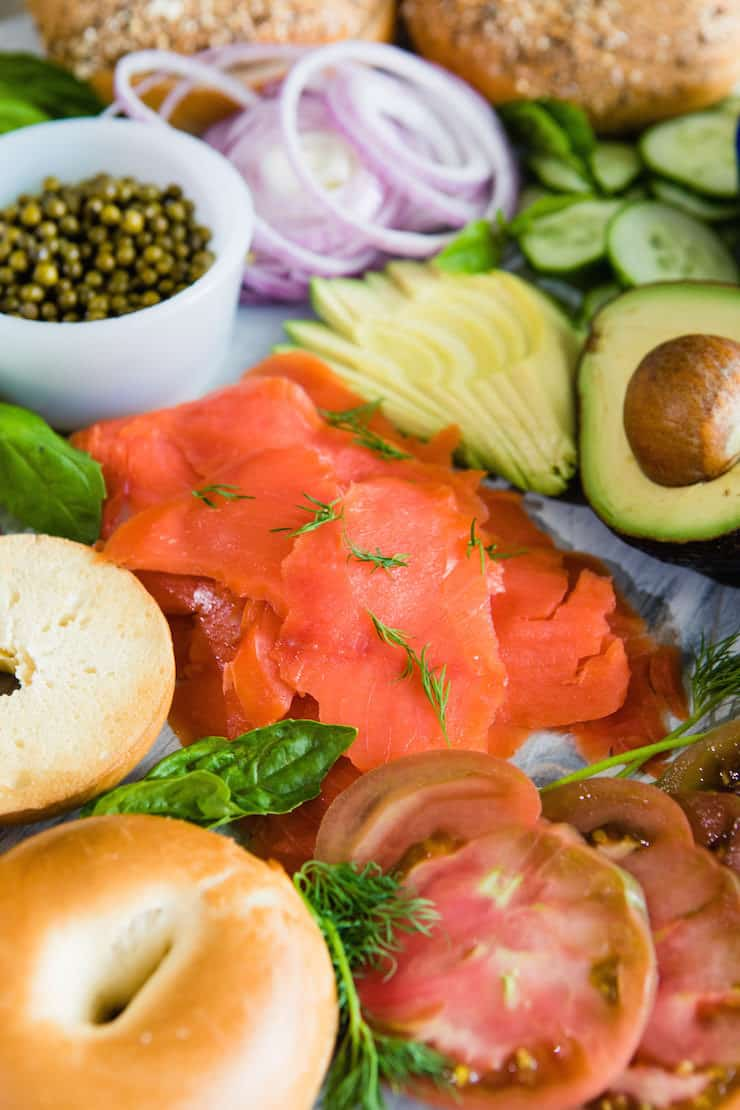Smoked Salmon Bagel Bar…for the ultimate Mother's Day brunch.