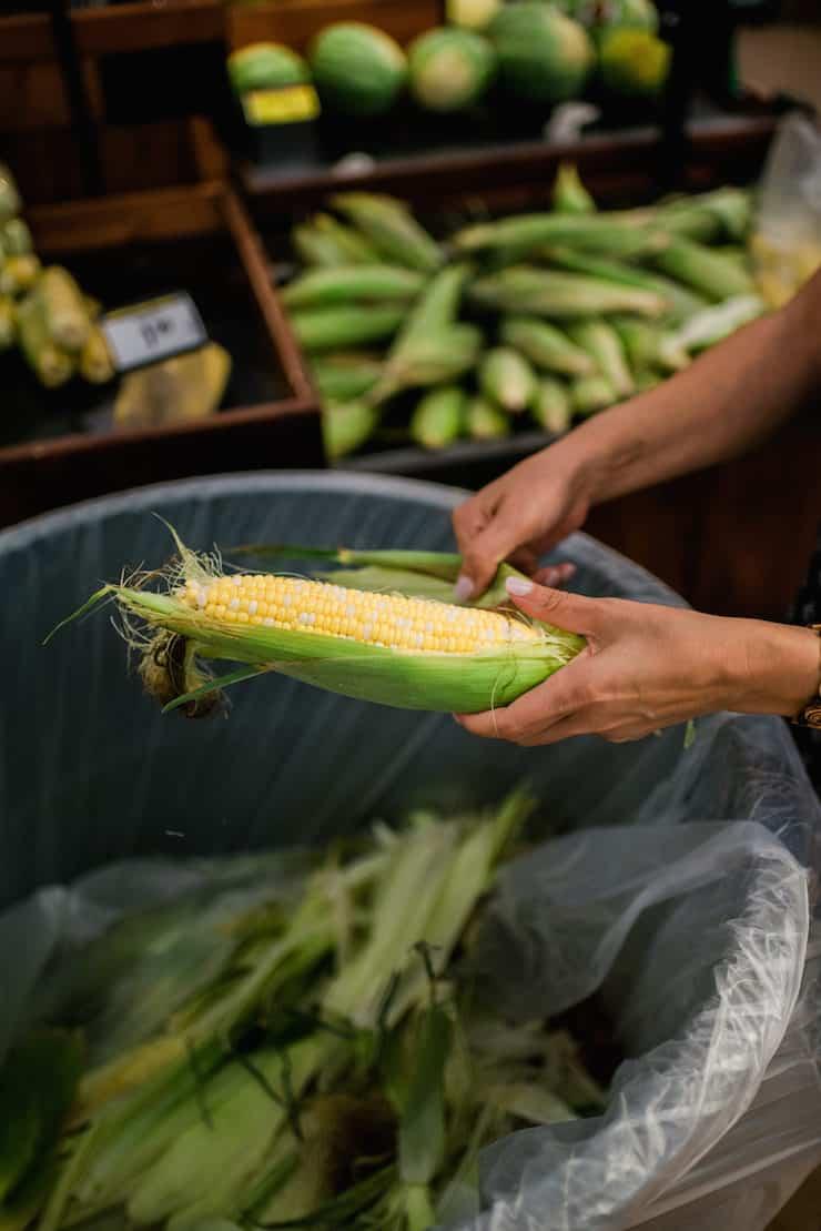 Close up shot of latina woman shucking corn over a trash bin at King Soopers