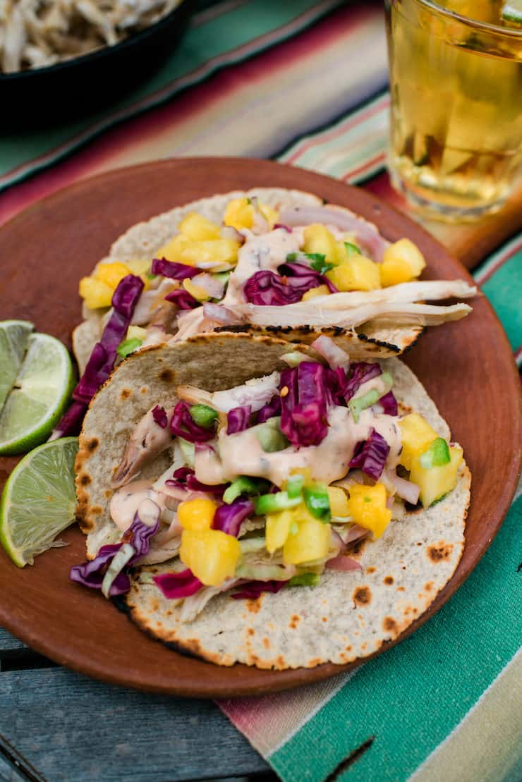 otisserie Chicken Tacos with Pineapple Mango Salsa and Curtido
