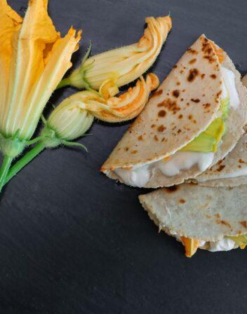 overhead shot of quesadillas de flor de calabaza