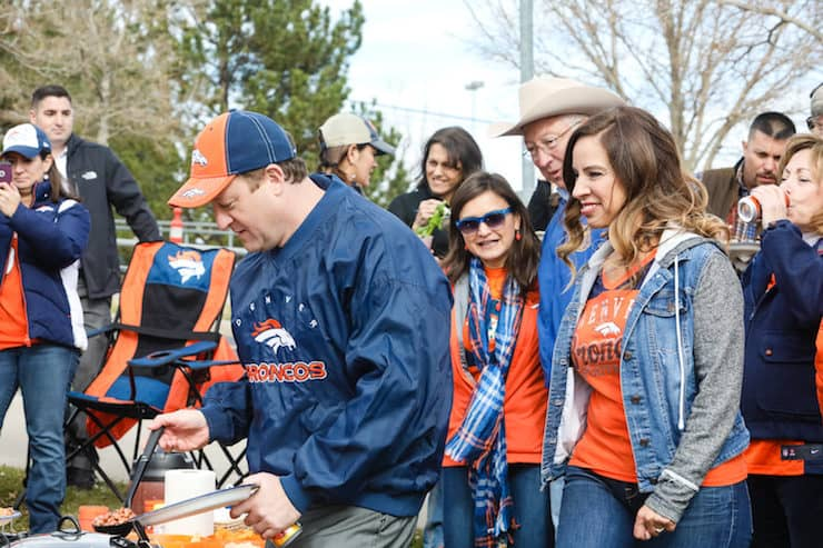 Jared Polis Governor for Colorado Denver Broncos tailgate with Yvette Marquez