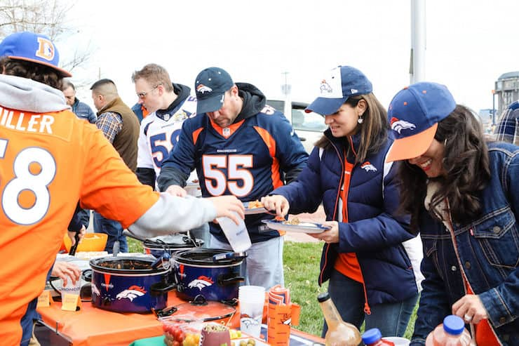 taco bar at a Denver Broncos tailgate fans eating