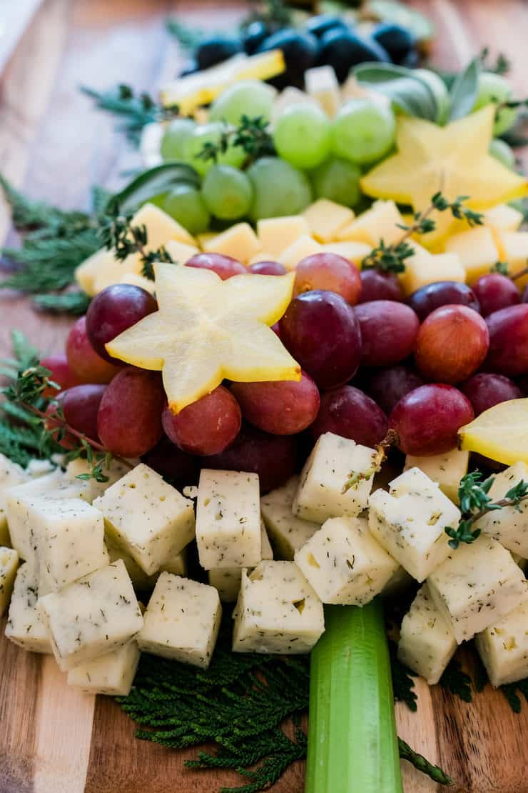 Christmas Tree Cheese Board ingredients varieties of cheese