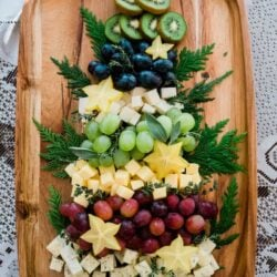 Overhead on the delicious Christmas Tree Cheese Board