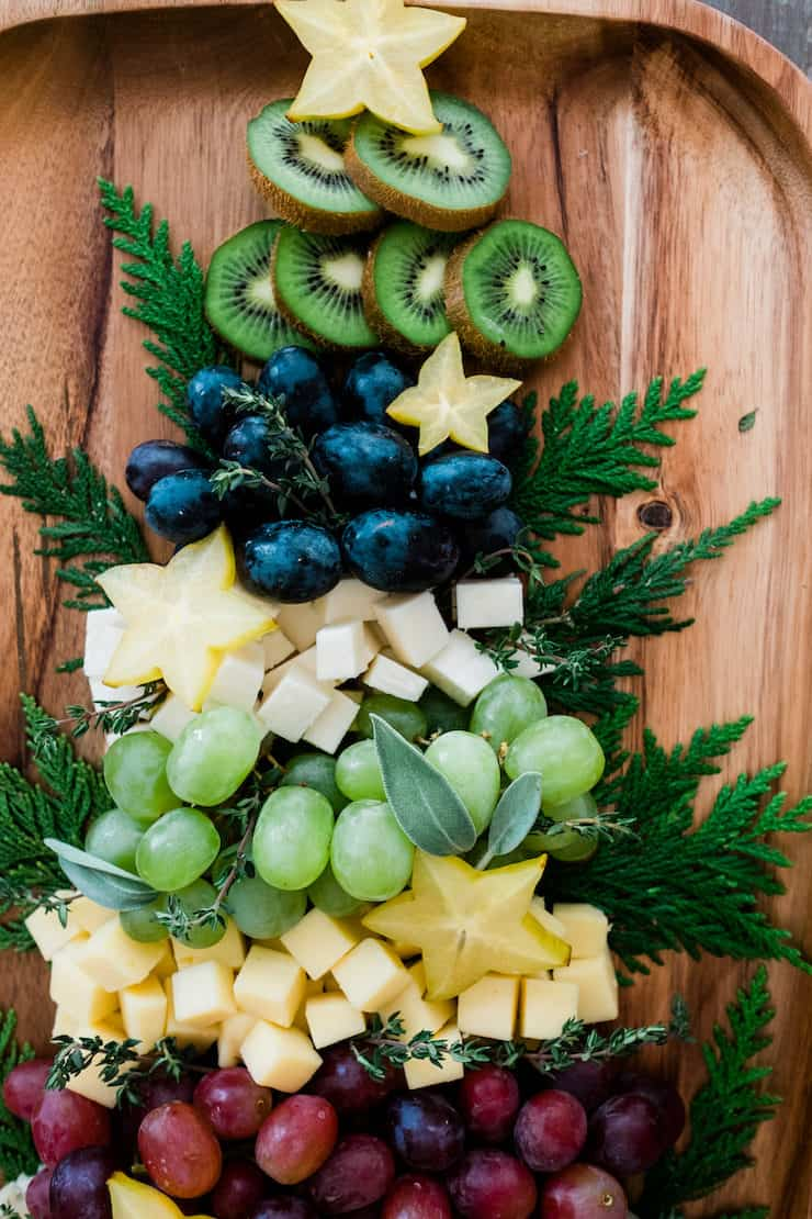 Christmas Tree Cheese Board star fruit at top