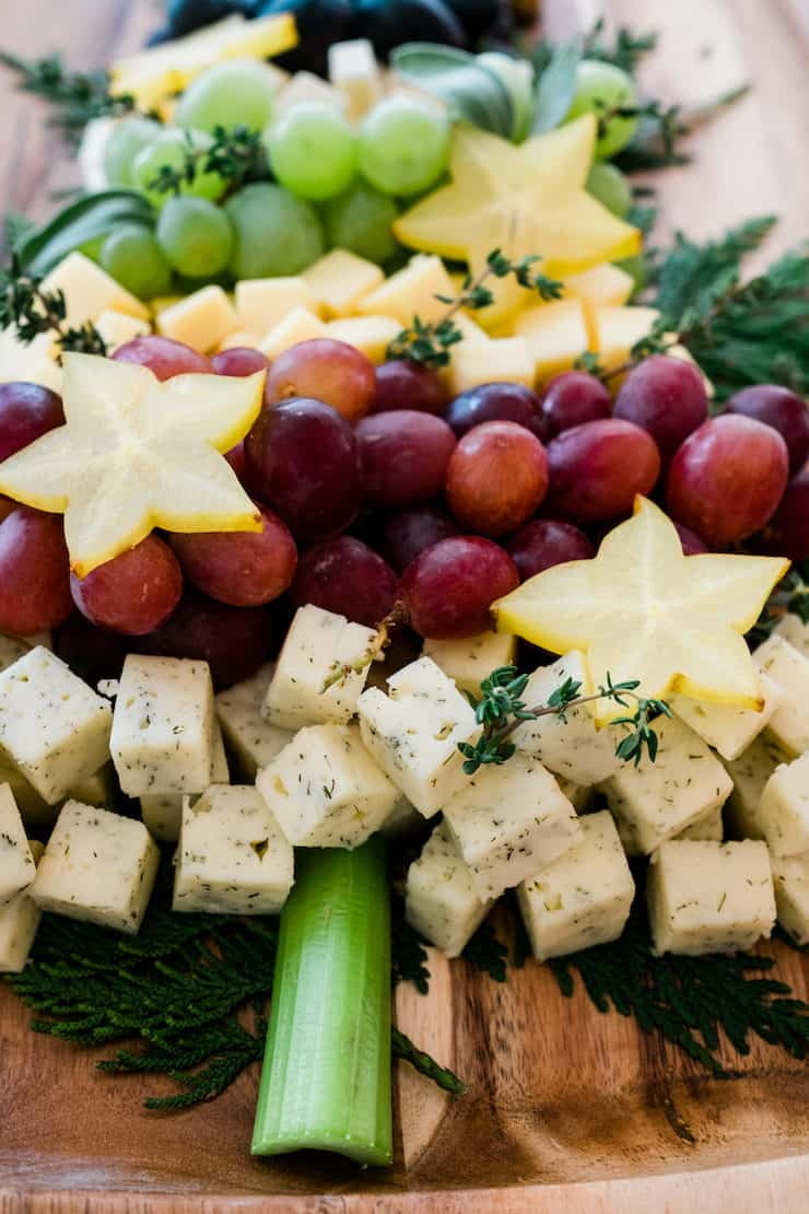 Christmas Tree Cheese Board with a celery as the trunk