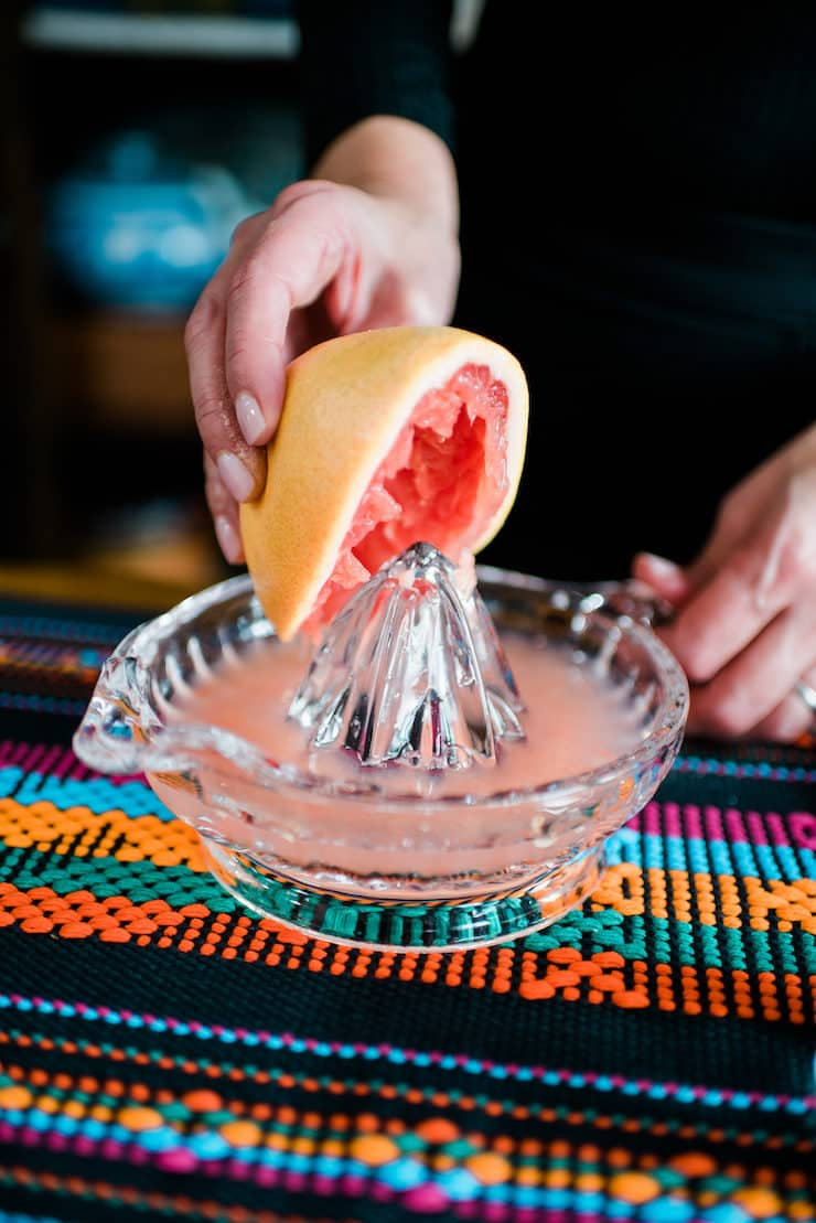 freshly squeezed grapefruit for a highland margarita