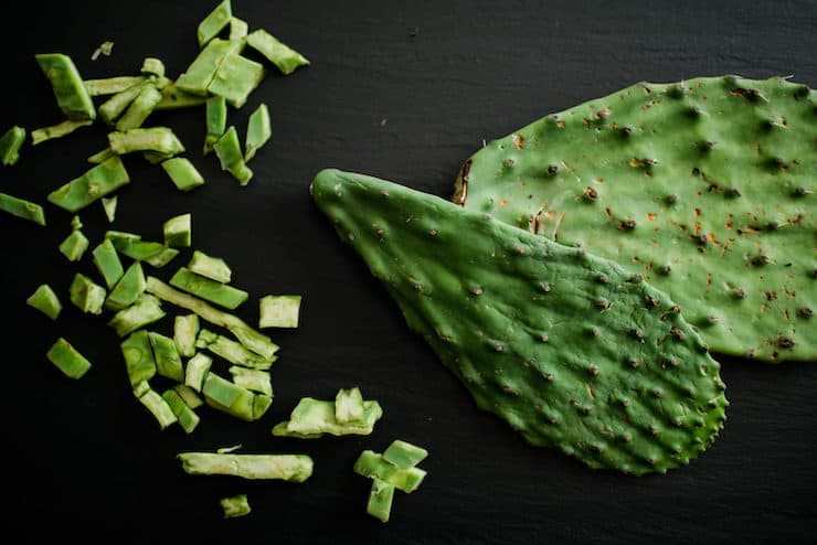 Nopales cactus paddles chopped