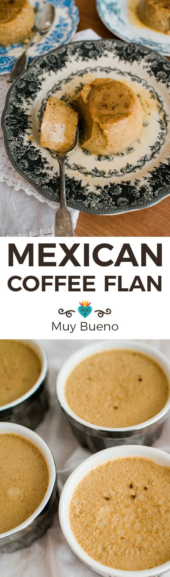 Mexican Coffee Flan collage with text overlay