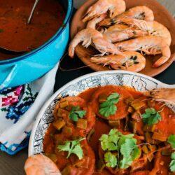 Tortitas de Camarón con Nopales guajillo chile sauce
