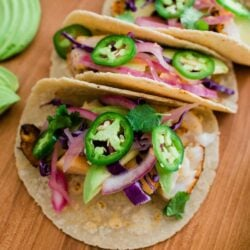Easy Fish Tacos served on a wooden table