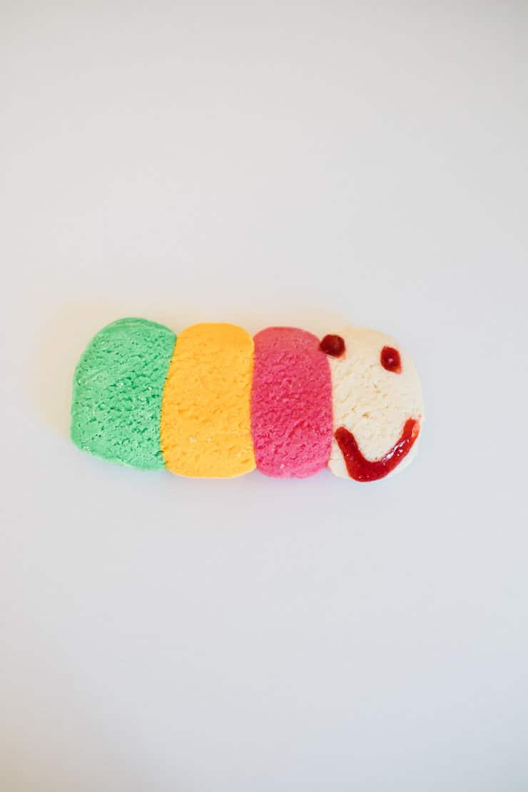 colorful caterpillar galette pan dulce