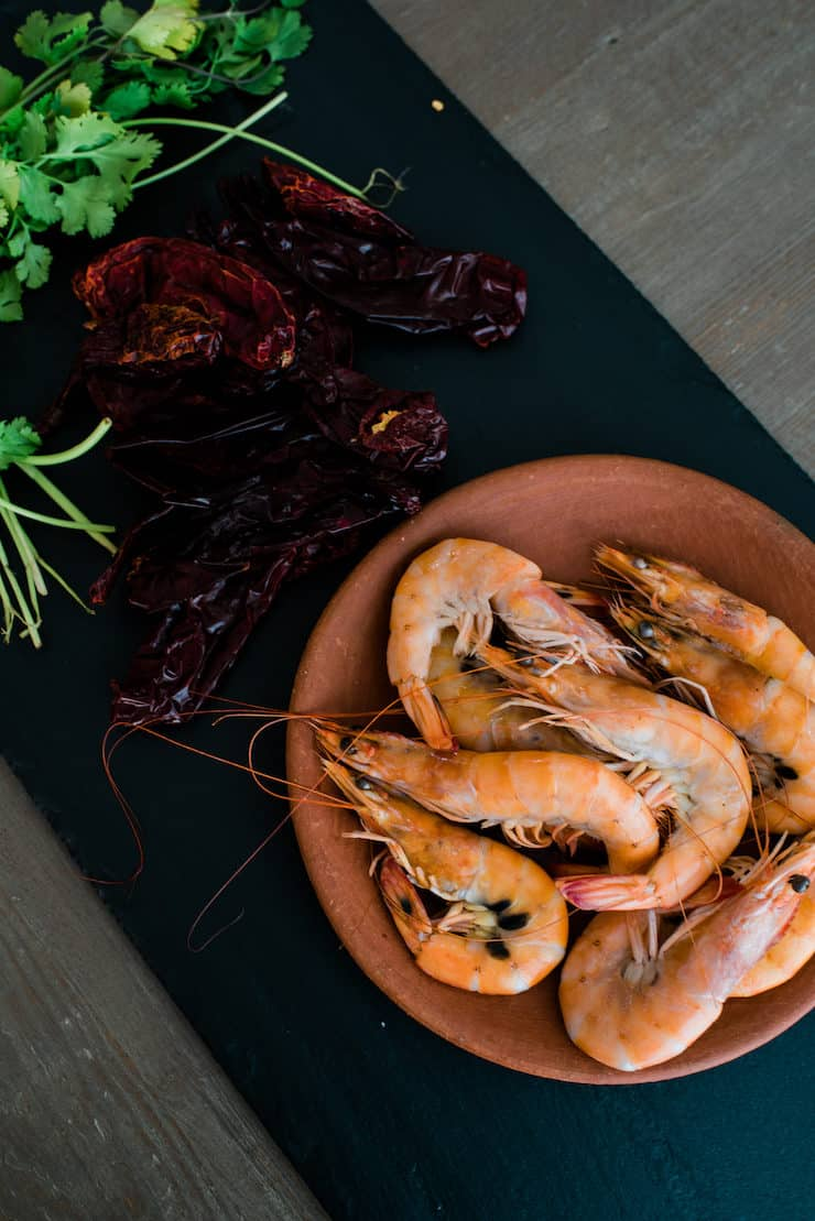 Guajillo chile, shrimp and herbs ingredients