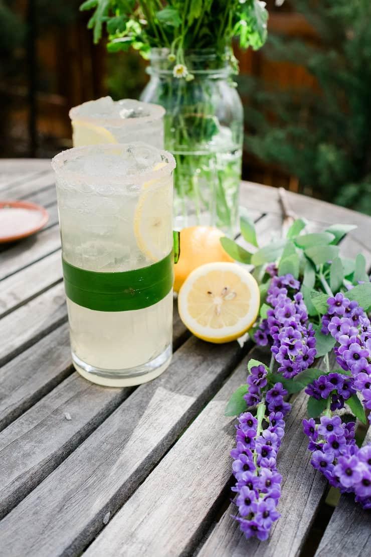 Side shot of Lavender Lemon Margarita with Lavender on the side