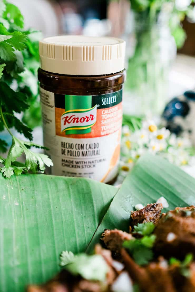New Knorr Natural decorated in the middle of the greens with lamb barbacoa blurred in the foreground