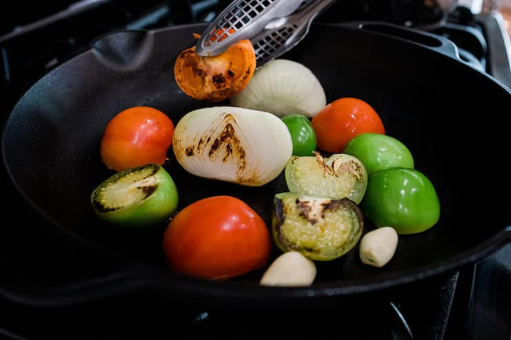 Roasted tomatillo - tomato, onion and garlic