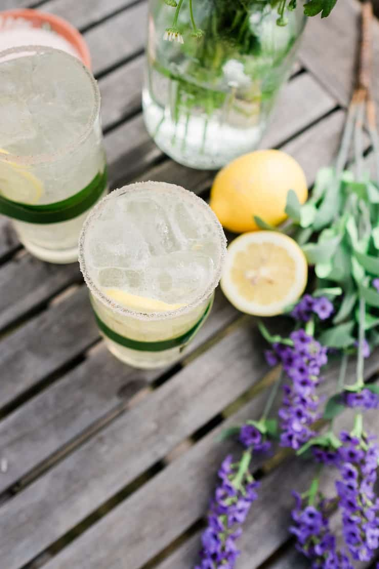 Overhead shot on Lavender Lemon Margarita served in glasses