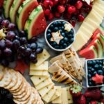 Red, White and Blue Fruit and Cheese Board served
