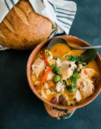 Veracruz Style Cod fish stew served in a big bowl