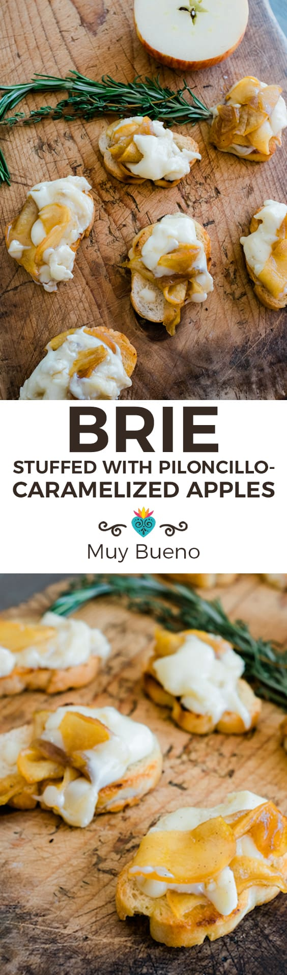 Brie Stuffed with Piloncillo Caramelized Apples Super Long Collage with Text Overlay