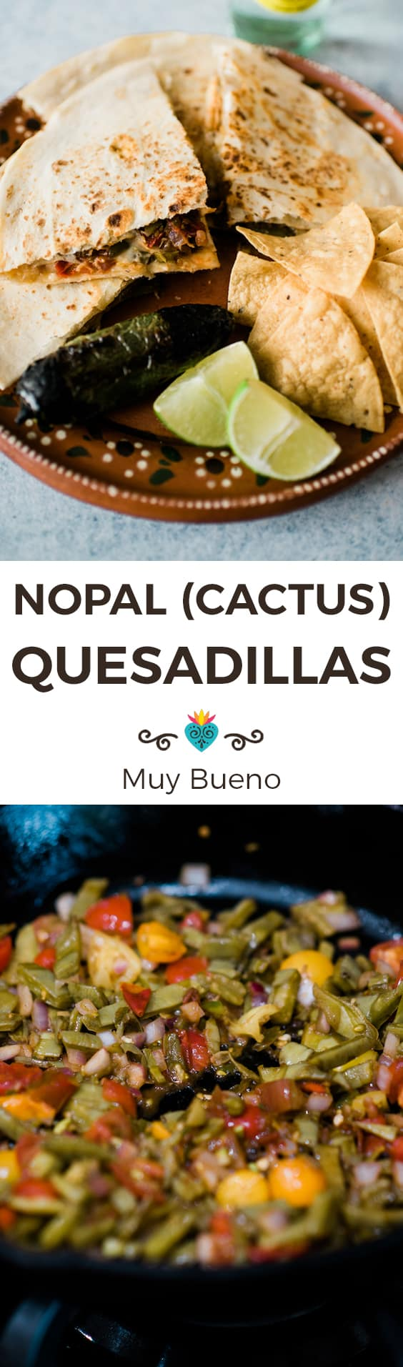 Cactus Nopal Quesadillas collage with text overlay