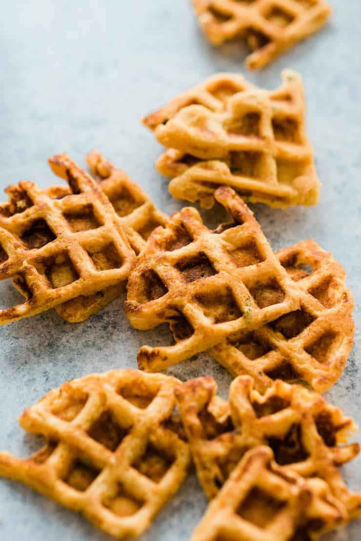 Cornmeal Waffles cooked before serving