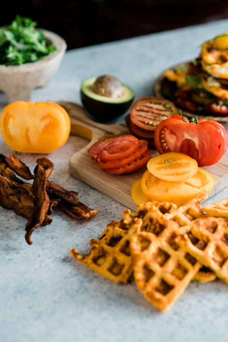 All of the elements of the savory blt waffle recipe before assembly