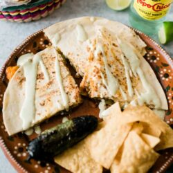 Cactus Nopal Quesadillas served in a beautiful plate